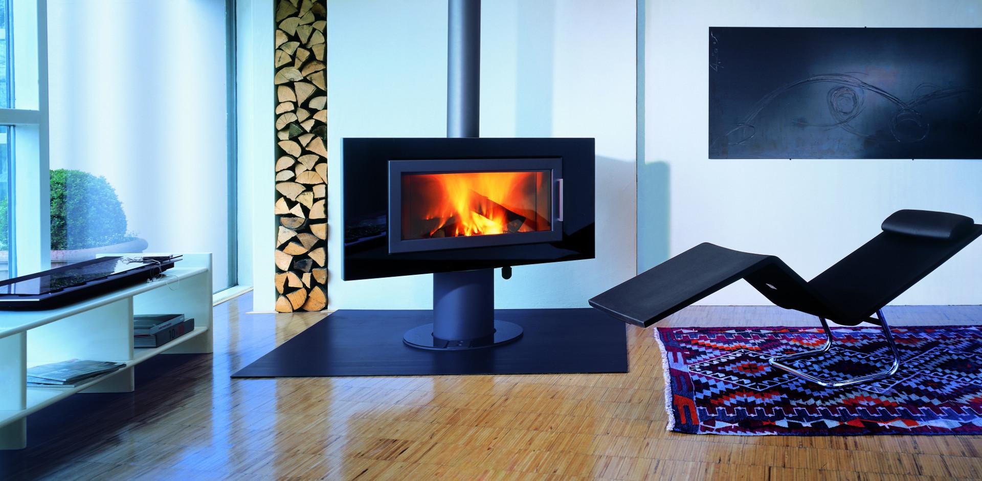 Poêle à bois vision panoramique, Poêle design Fire SL  Fondis