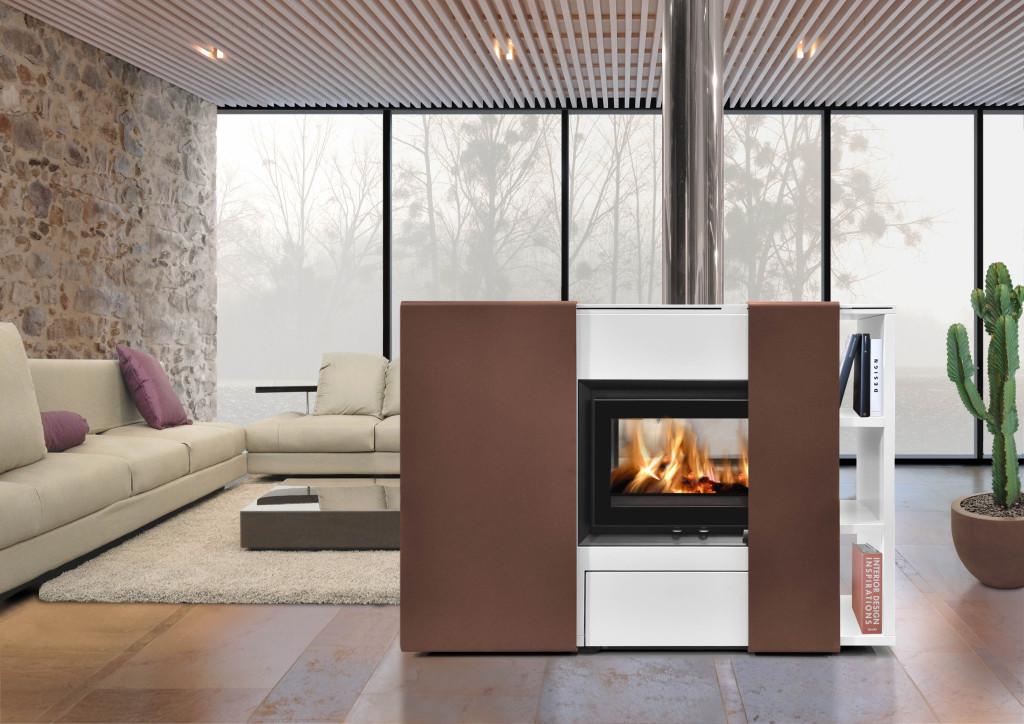 poêle cheminée design Modulo 190 position centrale vue d'ambiance