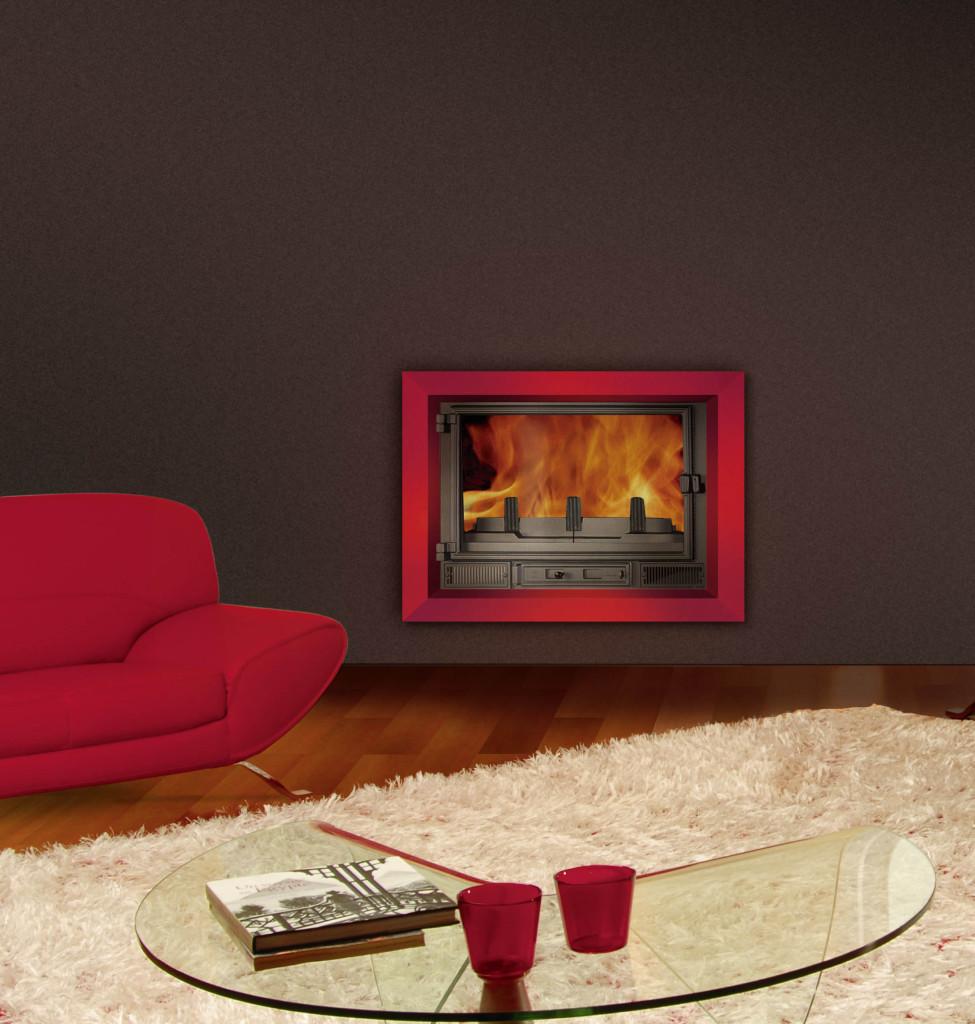 insert cheminée bois et granulés Wodtke T6 habillage d'ambiance prisme rouge