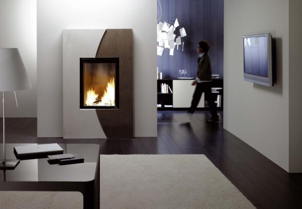 cheminées contemporaine Wodtke Ulys 800 habillage moon vertical ramage negro abanilla vue d'ambiance