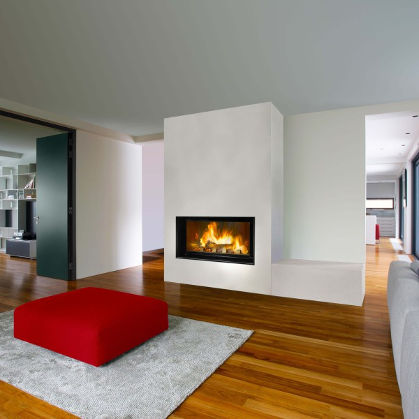 Foyer bois moderne foyer acier ulys 1100 fondis - Cheminee moderne avec insert ...